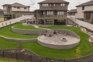 Martensville landscaped backyard