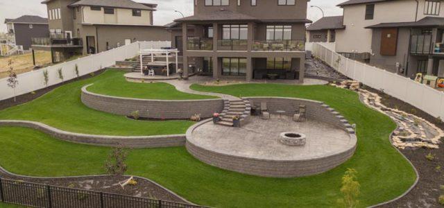 Martensville landscaped backyard